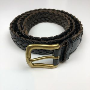 Accessories - Black Leather Belt With Brass Buckle